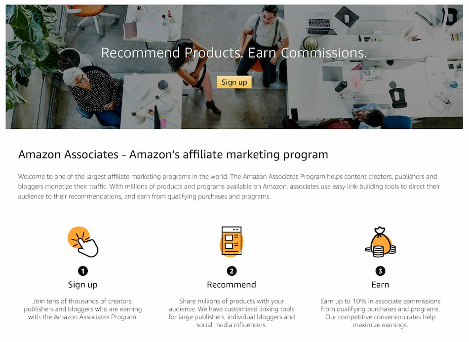 Affiliate marketing program - Amazon Associates